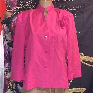 Dressbarn large pink linen jacket blazer